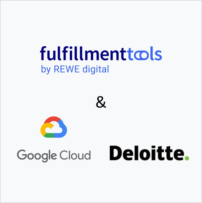 Logos von fulfillmenttools, Google Cloud und Deloitte