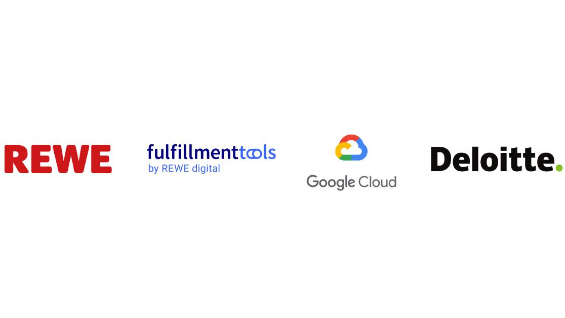 Logos von REWE, fulfillmenttools, Google Cloud und Deloitte
